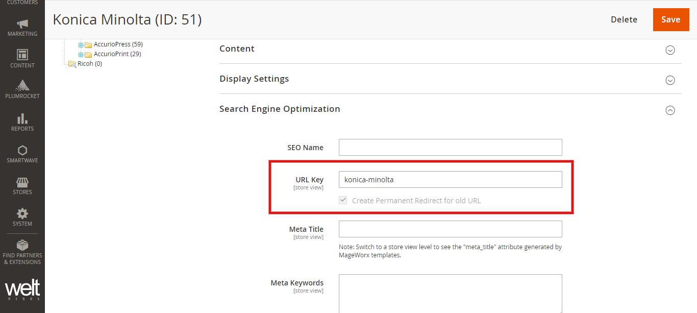 URL key For Magento 2