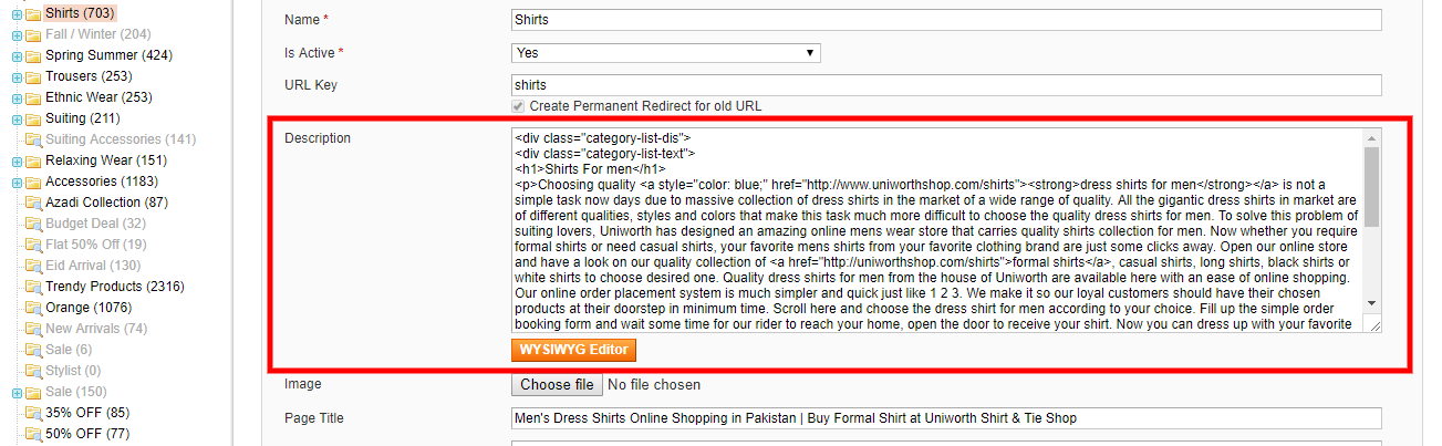 On-page description For Magento 1