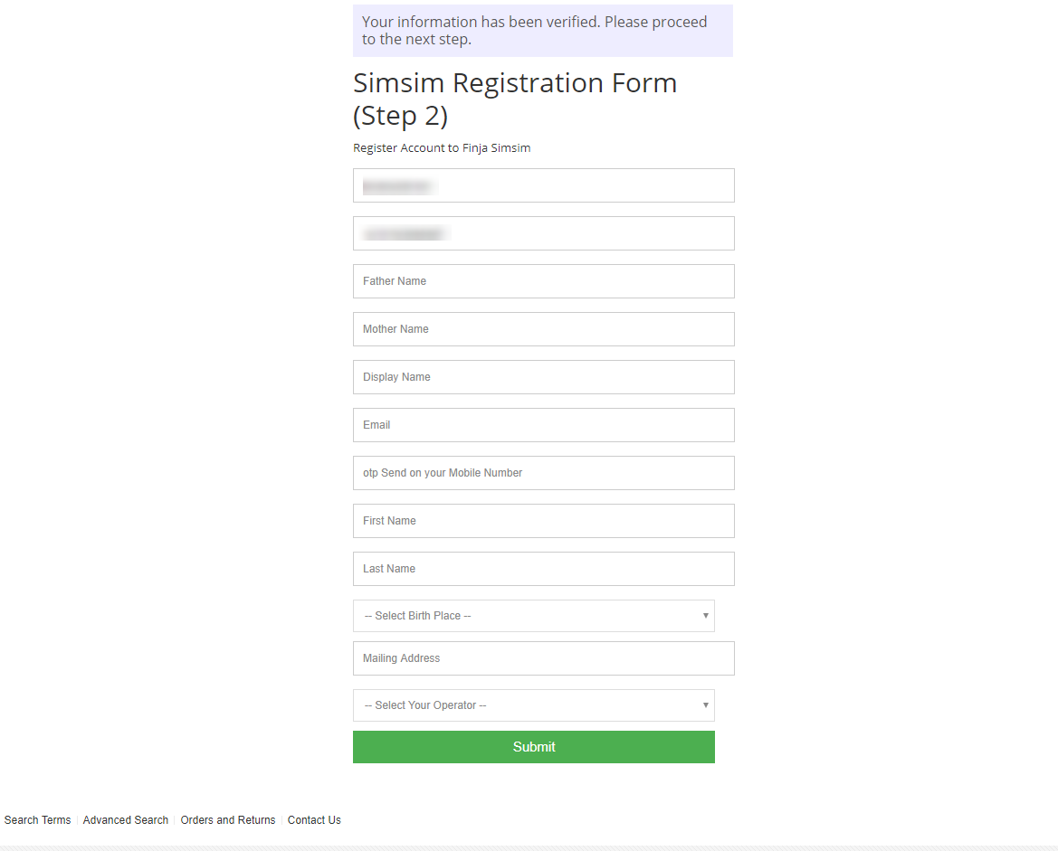 Registration Form Step 02